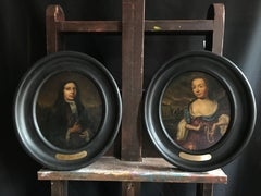 Pair 17th Century Dutch Portraits Aristocratic Husband & Wife Oval Oil Paintings