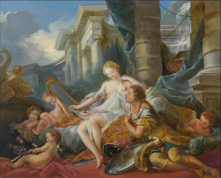 Atelier Dagher after François Boucher (1703-1770)  Figurative Painting - Renaud and Armide, Large Oil Painting on Canvas by Louvre Copyist