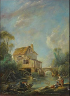 The Fishermen, Large Oil Painting on Canvas by Louvre Copyist