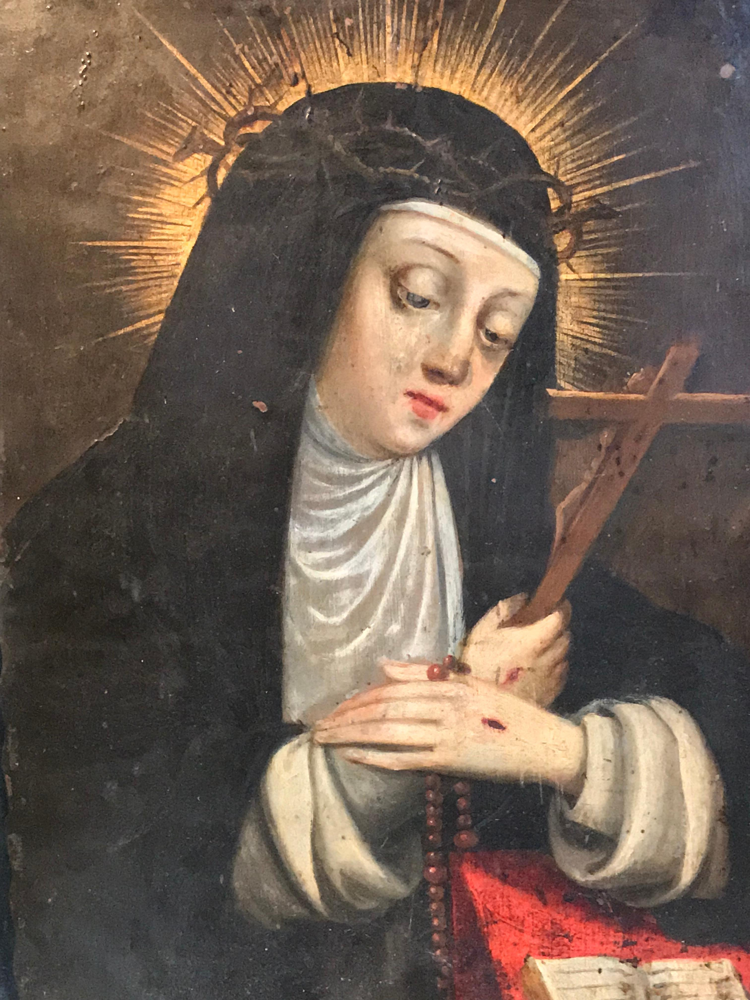 Early 1600's Italian Old Master Saint Clare of Assisi