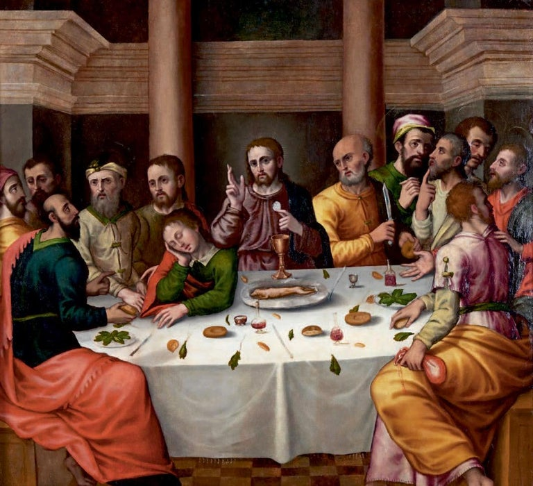 Workshop of Juan de Flandes Figurative Painting - The Last Supper, circa 1500, Important Early Old Master Oil Painting