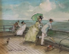Impressionist Portrait of a Couple at a Pier, Watercolour, British Artist,Signed