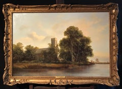 Large Tranquil Norfolk River Landscape & Anglo Saxon Church,English Oil Painting
