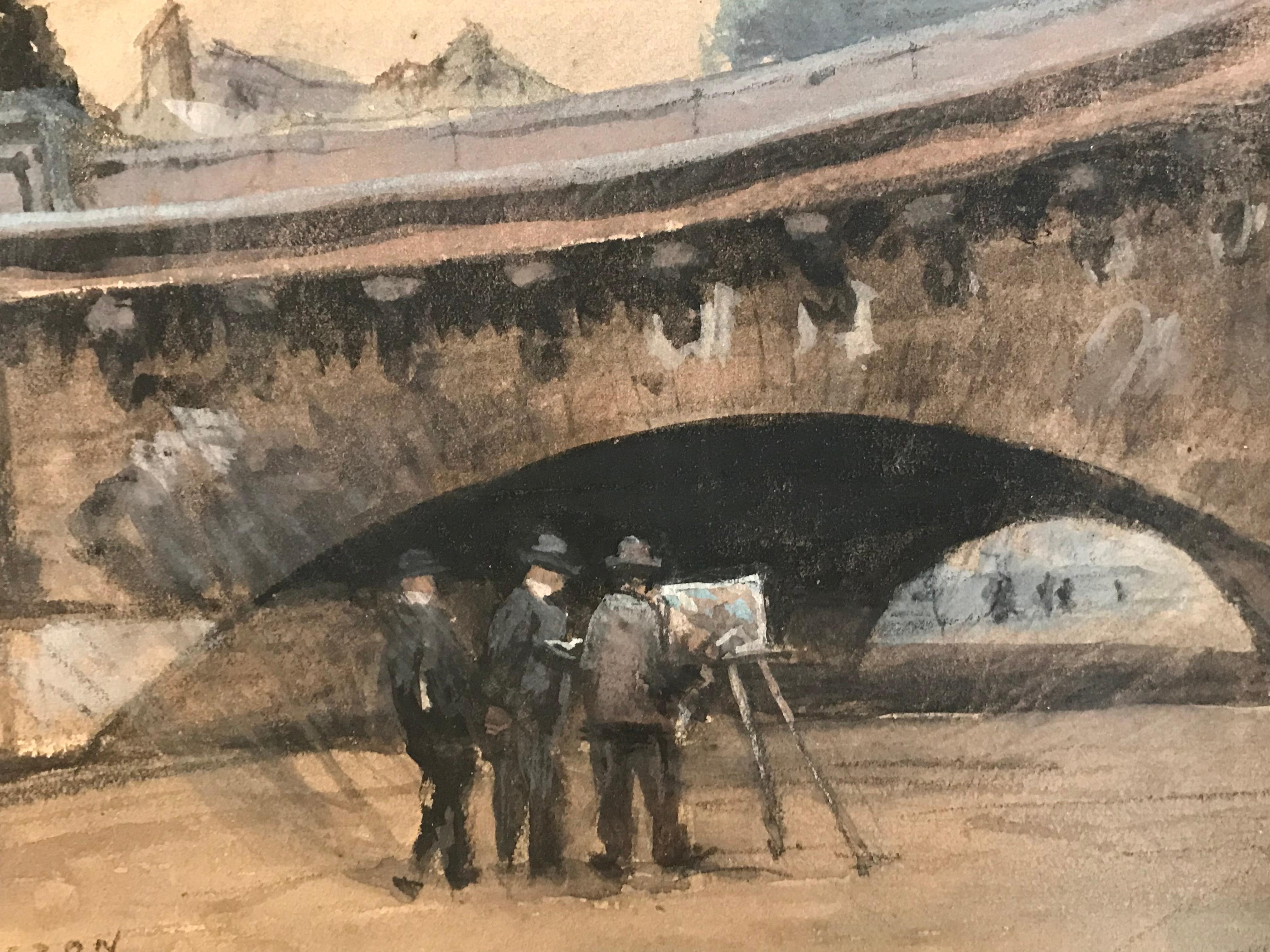 Painting under le Pont Neuf River Seine Paris, Fine Impressionist Painting