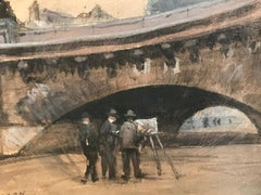 Painting under le Pont Neuf River Seine Paris, Fine Impressionist Painting