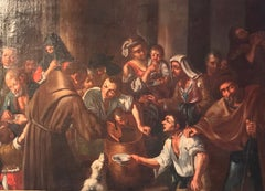 Alms to the Poor, Huge 17th Century Italian Baroque Old Master Oil Painting