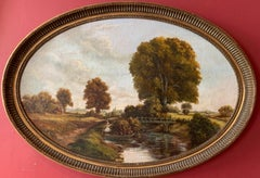Large Traditional English Rural Oil Painting - Oval Gilt Frame