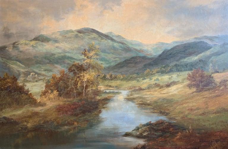 Prudence Turner Landscape Painting - Tranquil Summer Scottish Highlands Loch Landscape Oil Painting