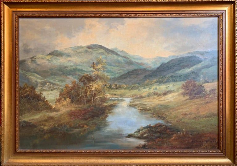 Tranquil Summer Scottish Highlands Loch Landscape Oil Painting - Gray Landscape Painting by Prudence Turner