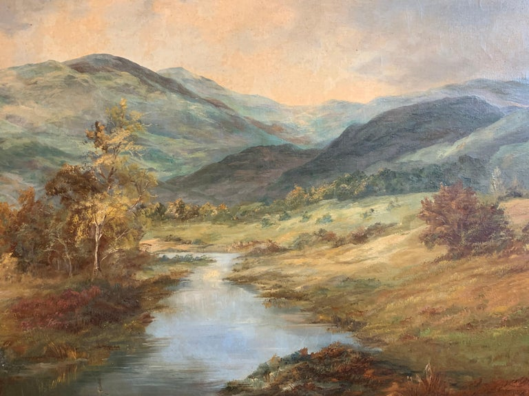 Tranquil Highlands by Prudence Turner (British 1930-2007) signed lower corner oil painting on canvas, framed framed size: 29.5 x 41 inches  Fine quality antique oil painting by the much admired and celebrated British artist Prudence Turner
