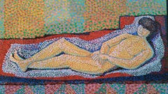French Neo-Impressionist Pointillist Reclining Nude Mid 20th Century Painting