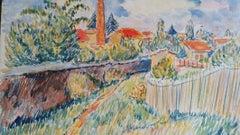 Provence Village Landscape Post-Impressionist Signed 1940's Painting