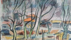 Provence Villas Landscape Post-Impressionist Initialled 1947 Painting
