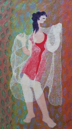 French Neo-Impressionist Pointillist Red Dress Mid 20th Century Painting
