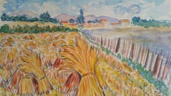 Beaujolais Harvest Landscape Post-Impressionist Signed 1940's Painting