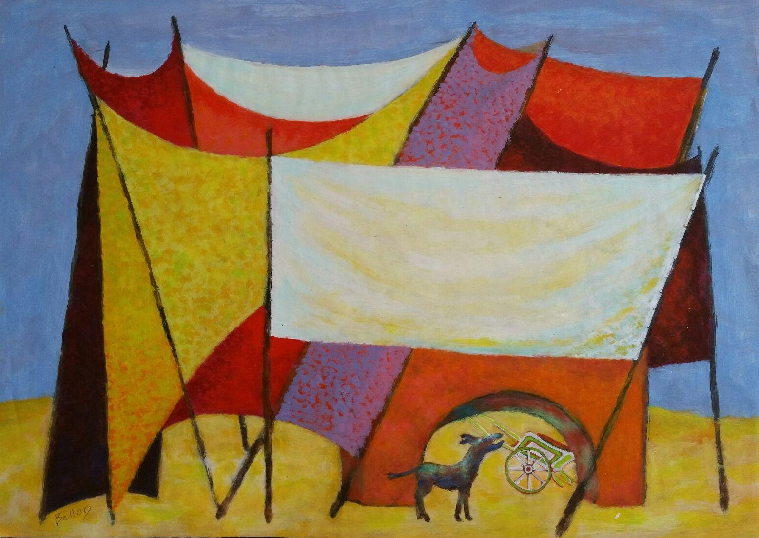 French Neo-Impressionist Modernist Dog in a Tent Mid 20th Century Painting