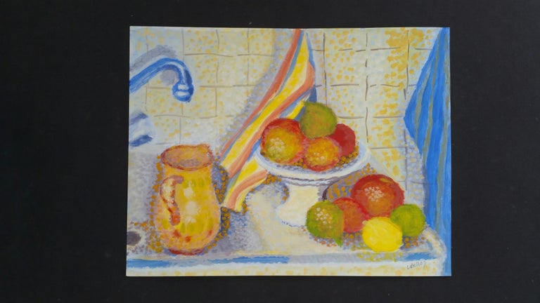 French Neo-Impressionist Still Life Pointillist Mid 20th Century Painting - Brown Still-Life Painting by Louis Bellon