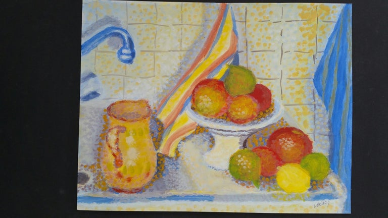 French Neo-Impressionist Still Life Pointillist Mid 20th Century Painting For Sale 5