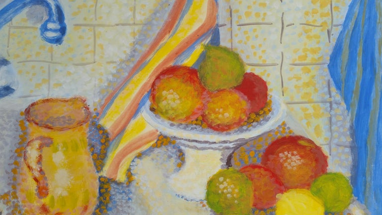 Neo Impressionist Still Life by Louis Bellon (French 1908-1998) signed lower right gouache painting on paper, unframed measurements: 10 x 12.75 inches  provenance: private collection of the artists work, Provence, France  Condition report: very