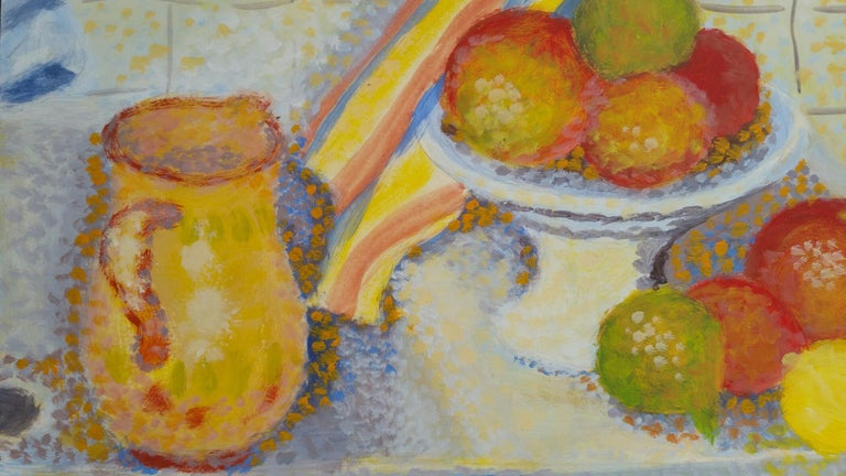 French Neo-Impressionist Still Life Pointillist Mid 20th Century Painting For Sale 1