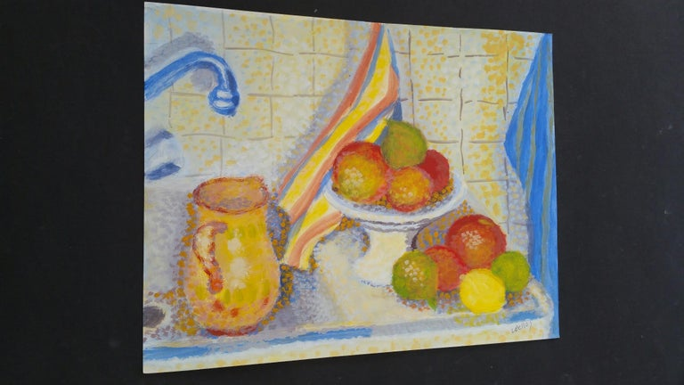 French Neo-Impressionist Still Life Pointillist Mid 20th Century Painting For Sale 4