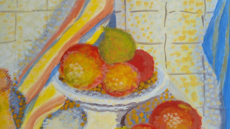 French Neo-Impressionist Still Life Pointillist Mid 20th Century Painting For Sale 3