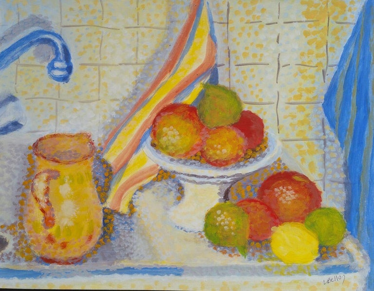Louis Bellon Still-Life Painting - French Neo-Impressionist Still Life Pointillist Mid 20th Century Painting