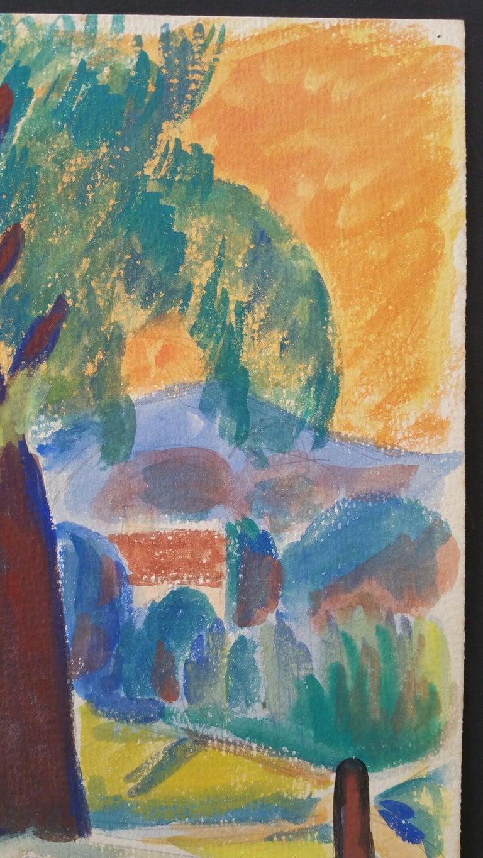 Provence Summer Landscape Post-Impressionist Signed 1947 Painting  For Sale 1