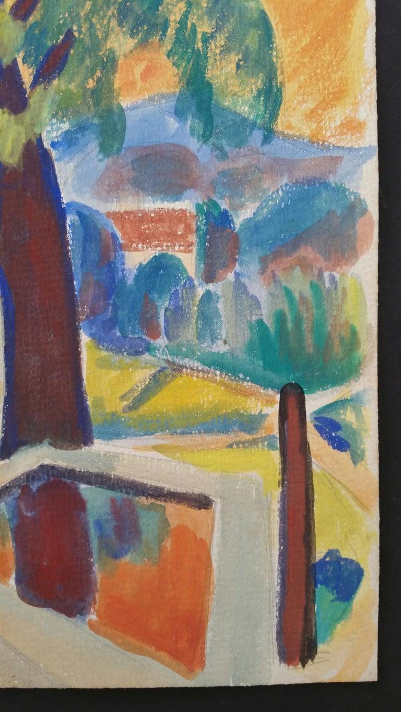 Provence Summer Landscape Post-Impressionist Signed 1947 Painting  For Sale 2