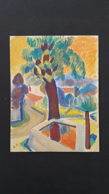 Provence Summer Landscape Post-Impressionist Signed 1947 Painting  For Sale 5