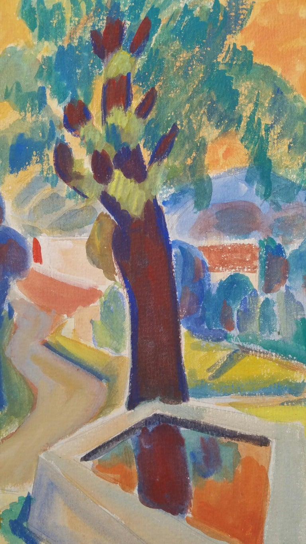 Provence Summer Landscape Post-Impressionist Signed 1947 Painting  For Sale 6