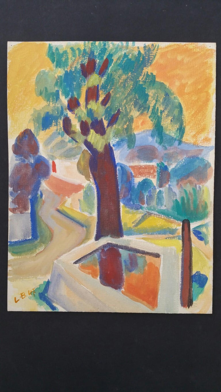 Provence Summer Landscape Post-Impressionist Signed 1947 Painting  - Brown Landscape Painting by Louis Bellon