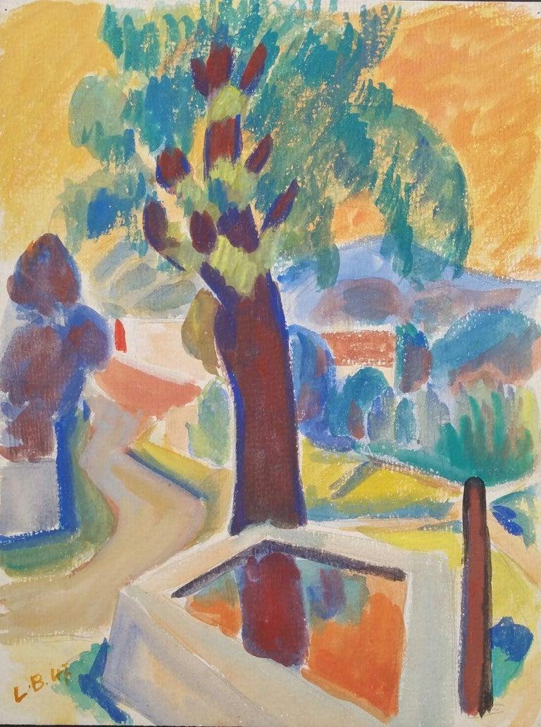 Louis Bellon Landscape Painting - Provence Summer Landscape Post-Impressionist Signed 1947 Painting