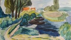 Provence Riverside Landscape Post-Impressionist Signed 1942 Painting