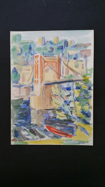 Provence Bridge Landscape Post-Impressionist Signed 1940's Painting - Art by Louis Bellon