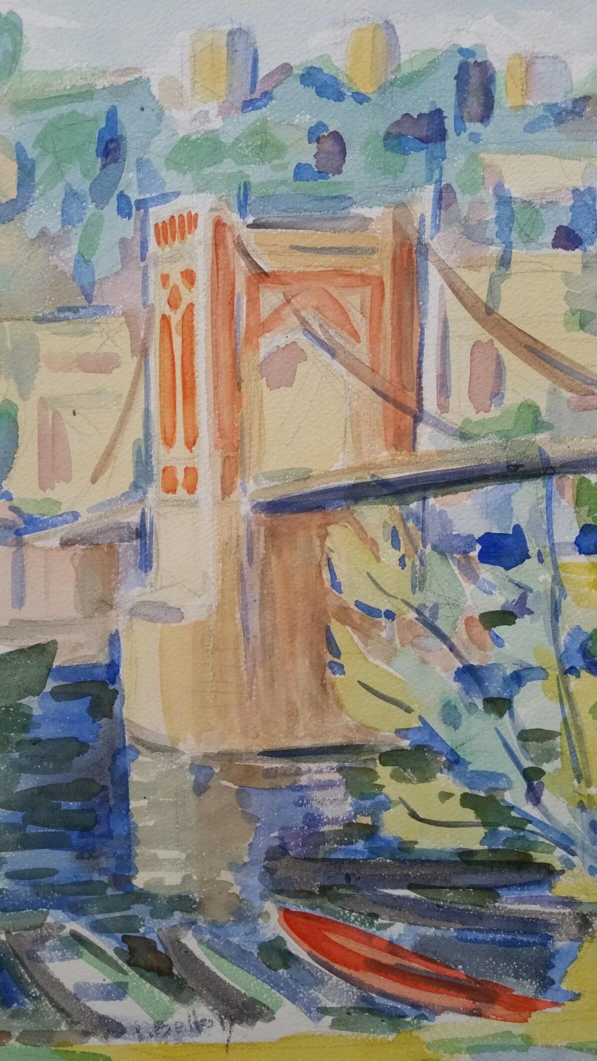 Provence Bridge Landscape Post-Impressionist Signed 1940's Painting