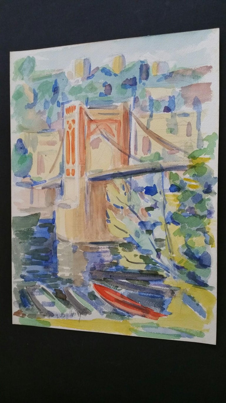 Provence Bridge Landscape Post-Impressionist Signed 1940's Painting For Sale 4