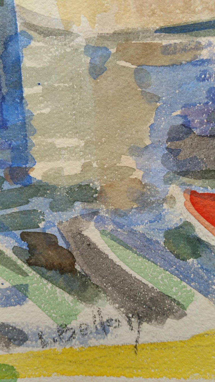 Provence Bridge Landscape Post-Impressionist Signed 1940's Painting - Gray Landscape Art by Louis Bellon