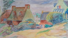Provence Village Landscape Post-Impressionist 1940's Painting