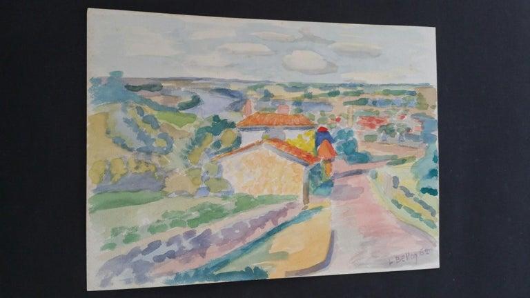 Provence Riverside Village Landscape Post-Impressionist Signed 1962 Painting For Sale 3