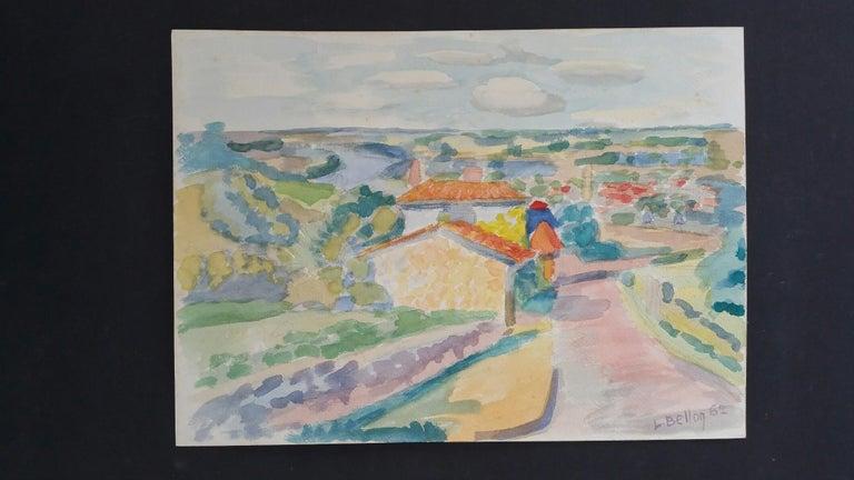 Provence Riverside Village Landscape Post-Impressionist Signed 1962 Painting - Gray Landscape Art by Louis Bellon