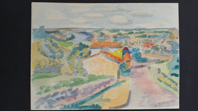 Provence Landscape, Panoramic View of a Riverside Village by Louis Bellon (French 1908-1998) Signed lower right, dated 62 (1962) watercolour painting on paper, unframed measurements: 9.25 x 12.75 inches  provenance: private collection of the artists