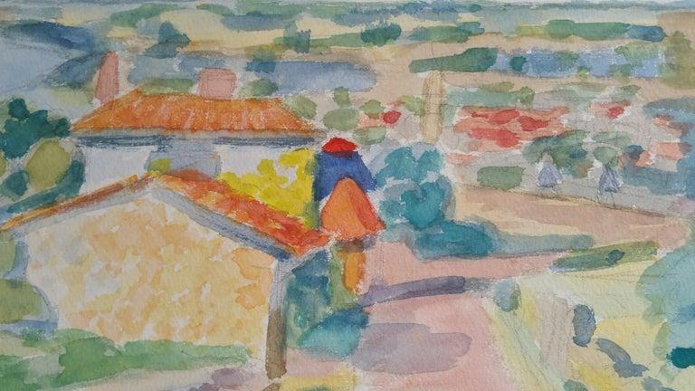 Louis Bellon Landscape Art - Provence Riverside Village Landscape Post-Impressionist Signed 1962 Painting