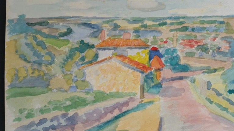 Provence Riverside Village Landscape Post-Impressionist Signed 1962 Painting - Art by Louis Bellon