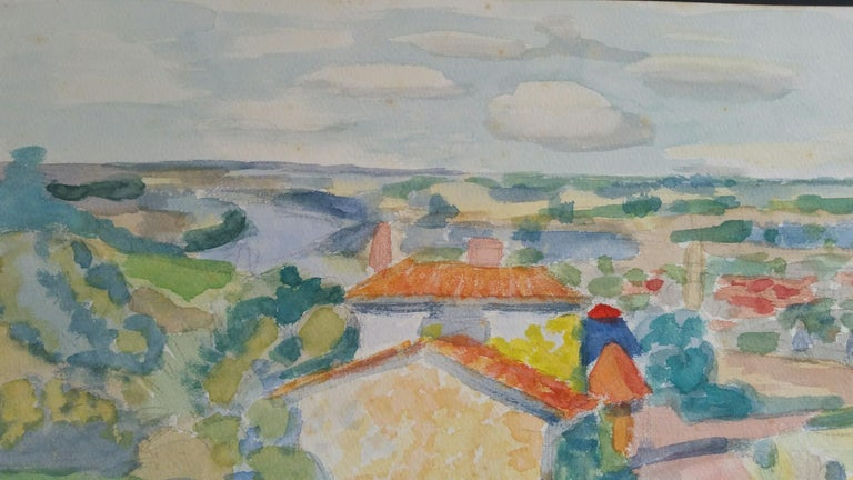 Provence Riverside Village Landscape Post-Impressionist Signed 1962 Painting For Sale 2