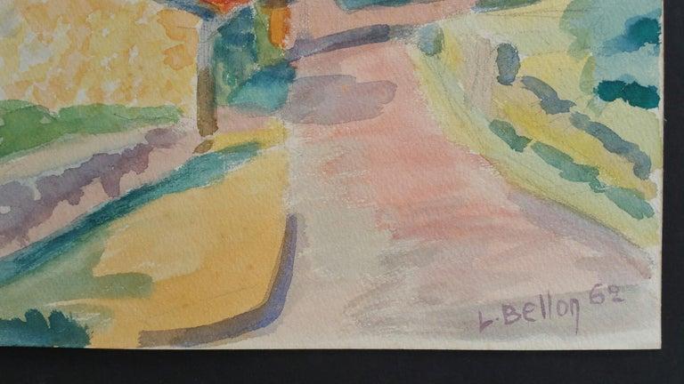 Provence Riverside Village Landscape Post-Impressionist Signed 1962 Painting For Sale 1