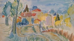 Provence Hill Village Landscape Post-Impressionist Signed 1943 Painting
