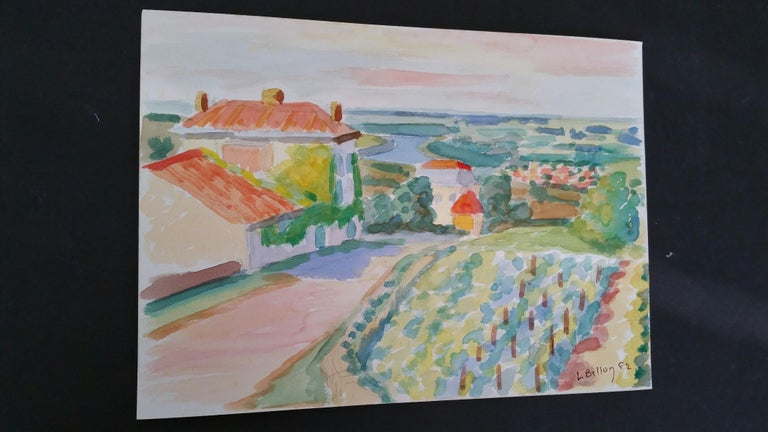 Provence Vineyard Village Landscape Post-Impressionist Signed 1962 Painting - Art by Louis Bellon