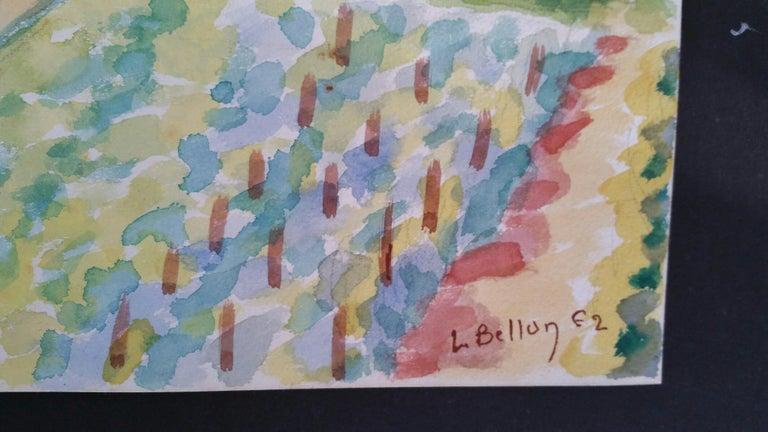 Provence Vineyard Village Landscape Post-Impressionist Signed 1962 Painting For Sale 1