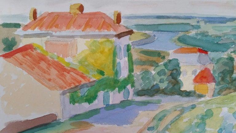 Provence Vineyard Village Landscape Post-Impressionist Signed 1962 Painting For Sale 3